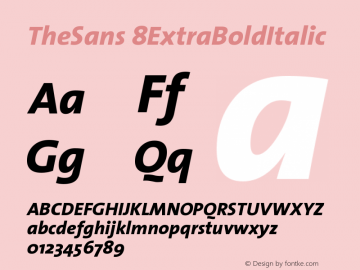 TheSans 8ExtraBoldItalic Version 1.0 Font Sample