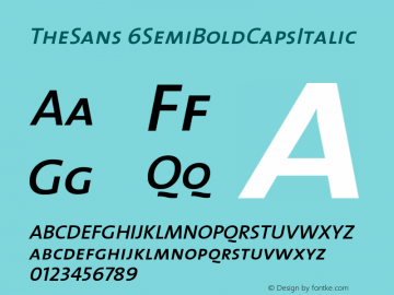 TheSans 6SemiBoldCapsItalic Version 1.0 Font Sample