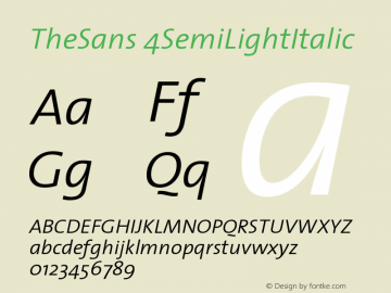 TheSans 4SemiLightItalic Version 1.0 Font Sample