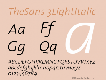 TheSans 3LightItalic Version 1.0 Font Sample