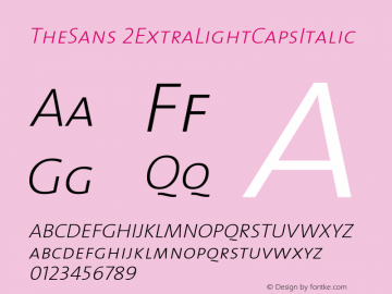 TheSans 2ExtraLightCapsItalic Version 1.0 Font Sample