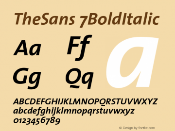 TheSans 7BoldItalic Version 1.0 Font Sample