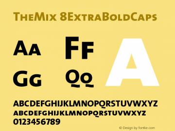 TheMix 8ExtraBoldCaps Version 1.0 Font Sample