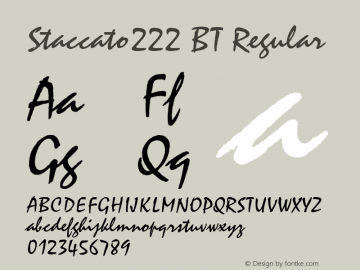 Staccato222 BT Regular mfgpctt-v4.4 Dec 22 1998 Font Sample