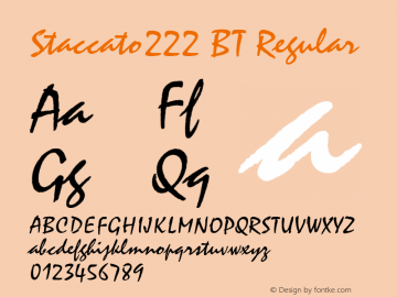 Staccato222 BT Regular mfgpctt-v1.57 Thursday, February 18, 1993 2:04:56 pm (EST) Font Sample