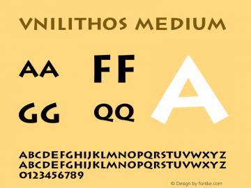 VNILithos Medium Version 001.000 Font Sample