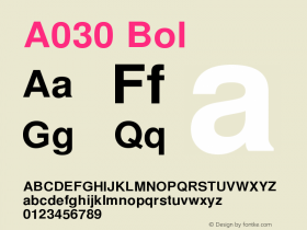 A030 Bol Version 1.05 Font Sample