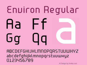 Environ Regular Macromedia Fontographer 4.1 1/23/2004 Font Sample