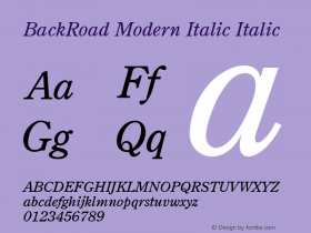BackRoad Modern Italic Italic Unknown Font Sample