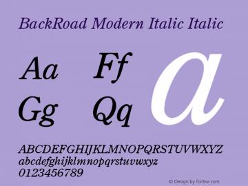 BackRoad Modern Italic Italic Unknown Font Sample