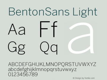 BentonSans Light Version 001.000 Font Sample