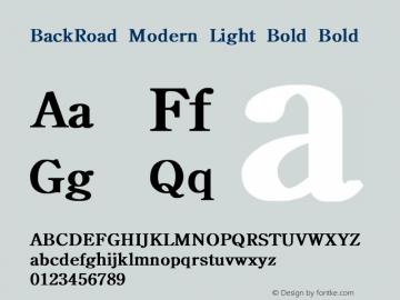 BackRoad Modern Light Bold Bold Unknown Font Sample