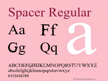 Spacer Regular Glyph Systems 21-July-95 Font Sample