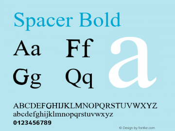 Spacer Bold Glyph Systems 21-July-95 Font Sample