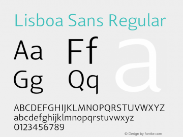 Lisboa Sans Regular Version 1.000;PS 001.000;hotconv 1.0.38 Font Sample