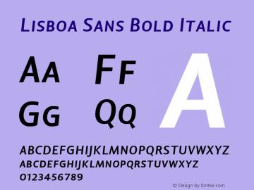 Lisboa Sans Bold Italic Version 1.000;PS 001.000;hotconv 1.0.38 Font Sample