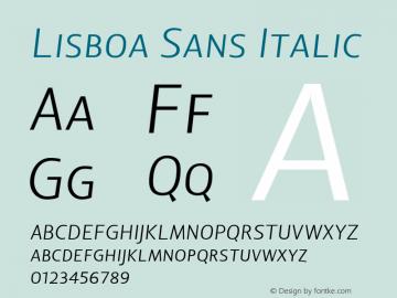 Lisboa Sans Italic Version 1.000;PS 001.000;hotconv 1.0.38 Font Sample