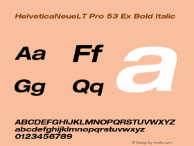 HelveticaNeueLT Pro 53 Ex Bold Italic Version 1.000;PS 001.000;Core 1.0.38图片样张