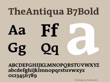 TheAntiqua B7Bold Version 001.000 Font Sample