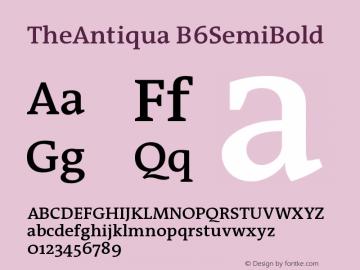 TheAntiqua B6SemiBold Version 001.000 Font Sample