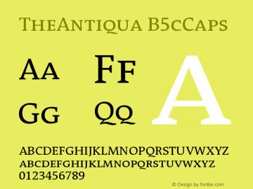 TheAntiqua B5cCaps Version 001.000 Font Sample