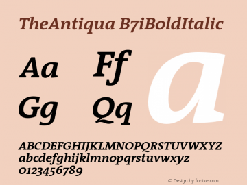 TheAntiqua B7iBoldItalic Version 001.000 Font Sample