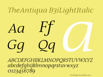 TheAntiqua B3iLightItalic Version 001.000 Font Sample