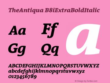 TheAntiqua B8iExtraBoldItalic Version 001.000 Font Sample