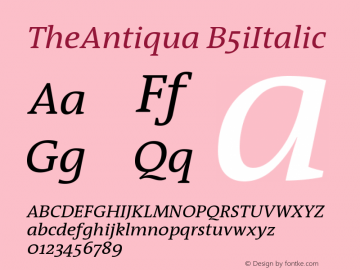 TheAntiqua B5iItalic Version 001.000 Font Sample