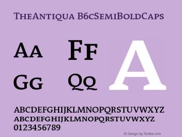 TheAntiqua B6cSemiBoldCaps Version 001.000 Font Sample