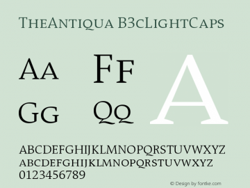 TheAntiqua B3cLightCaps Version 001.000 Font Sample