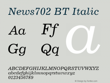News702 BT Italic mfgpctt-v4.4 Dec 14 1998 Font Sample