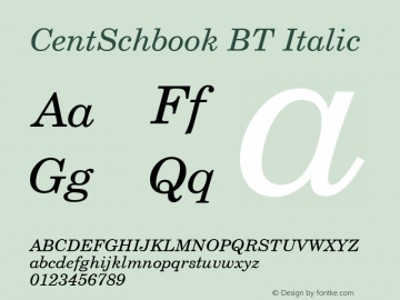CentSchbook BT Italic 1.0 Wed Apr 17 14:59:00 1996 Font Sample