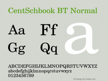 CentSchbook BT Normal 1.0 Wed Apr 17 14:55:33 1996 Font Sample