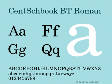 CentSchbook BT Roman mfgpctt-v1.87 Wed Aug 14 13:02:42 EDT 1996 Font Sample
