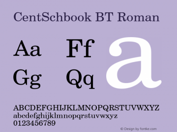 CentSchbook BT Roman mfgpctt-v1.87 Wed Aug 14 13:02:42 EDT 1996 Font Sample