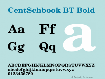 CentSchbook BT Bold mfgpctt-v1.86 Mar 20 1996 Font Sample