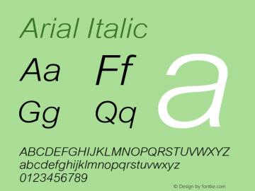 Arial Italic Version 4.0 Font Sample