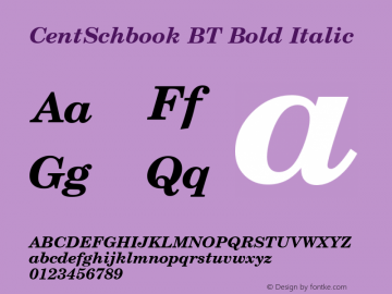 CentSchbook BT Bold Italic mfgpctt-v1.86 Mar 21 1996 Font Sample