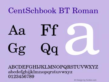 CentSchbook BT Roman Version 1.01 emb4-OT Font Sample