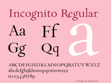 Incognito Regular 001.000 Font Sample