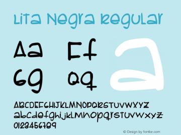 Lita Negra Regular Version 1.000;PS 001.000;hotconv 1.0.38 Font Sample