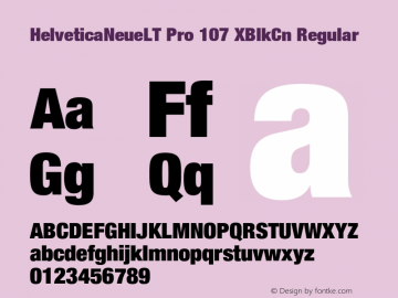 HelveticaNeueLT Pro 107 XBlkCn Regular Version 1.000;PS 001.000;Core 1.0.38 Font Sample