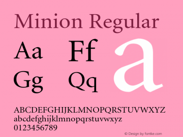 Minion Regular Converted from d:\win\system\MKRG____.TF1 by ALLTYPE Font Sample