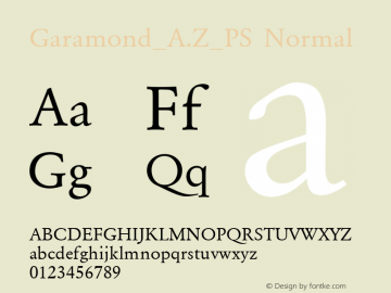 Garamond_A.Z_PS Normal 001.000 Font Sample