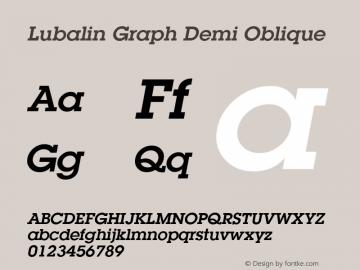Lubalin Graph Demi Oblique 19: 12625: 1999 Font Sample