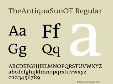 TheAntiquaSunOT Regular Version 2.000 Font Sample