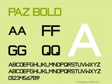 Paz Bold Version 1.000 Font Sample