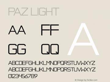 Paz Light Version 1.000 Font Sample