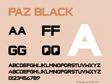 Paz Black Version 1.000 Font Sample
